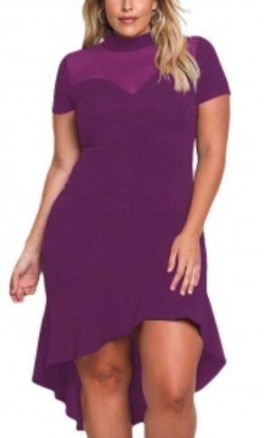 76ad0ecb473 Plus size Mesh insert ruffle hi low herm curly dress