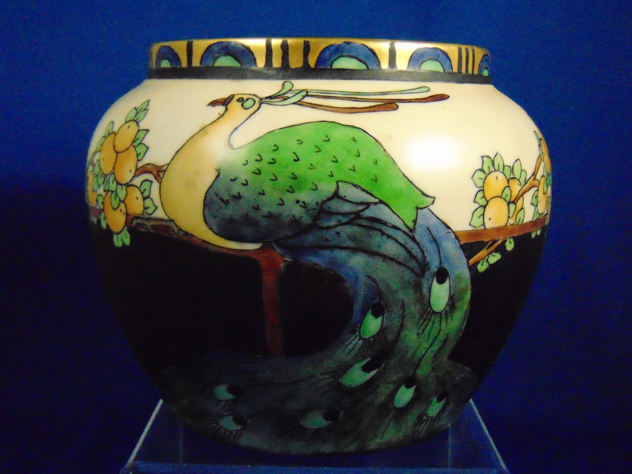 Decorated Cooking Urn Epiag Czechoslovakia Arts & Crafts Peacock & Fruit Motif Vase