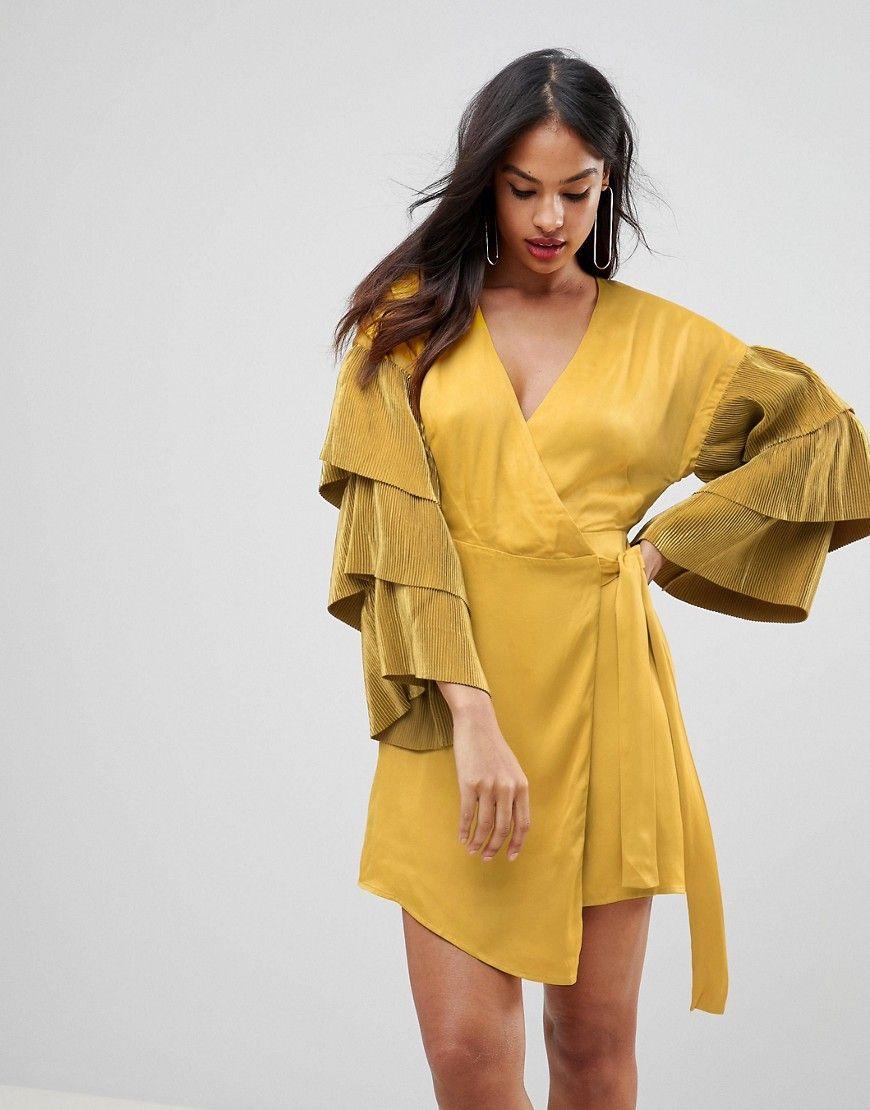 Isla - Wickelkleid im Kimono-Stil - Gelb Jetzt bestellen unter ...