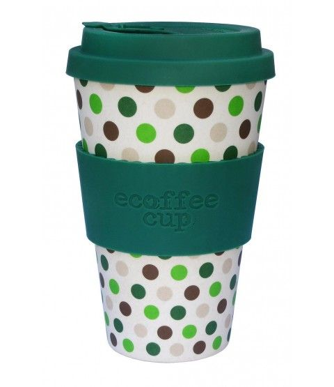 Ecoffee Cup Bambus Coffee To Go Becher Green Polka 600112
