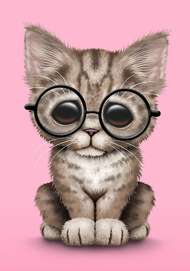 Cute Brown Tabby Kitten Wearing Eye Glasses Pink Art