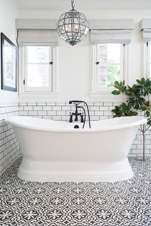 White And Black Bathroom Features Top Half Of Walls Painted White