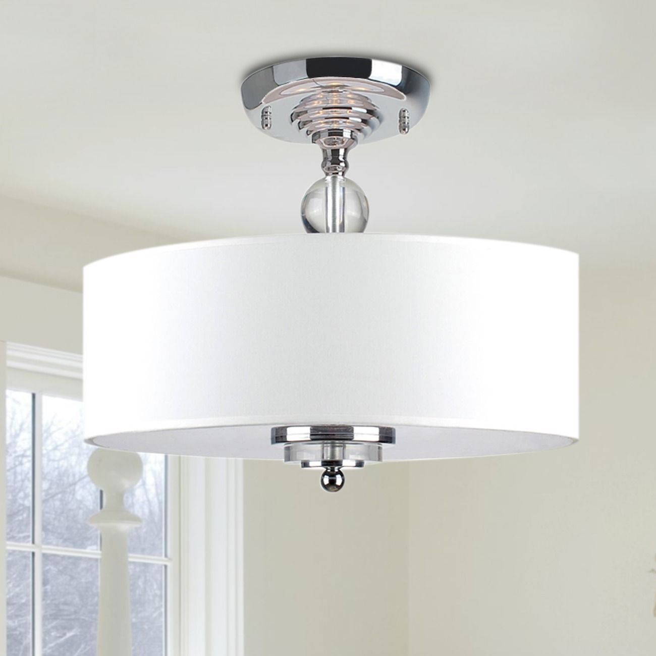 Crystal Decorated Off White Shade Flushmount Ceiling Chandelier Com Ping The Best Deals On Chandeliers Pendants