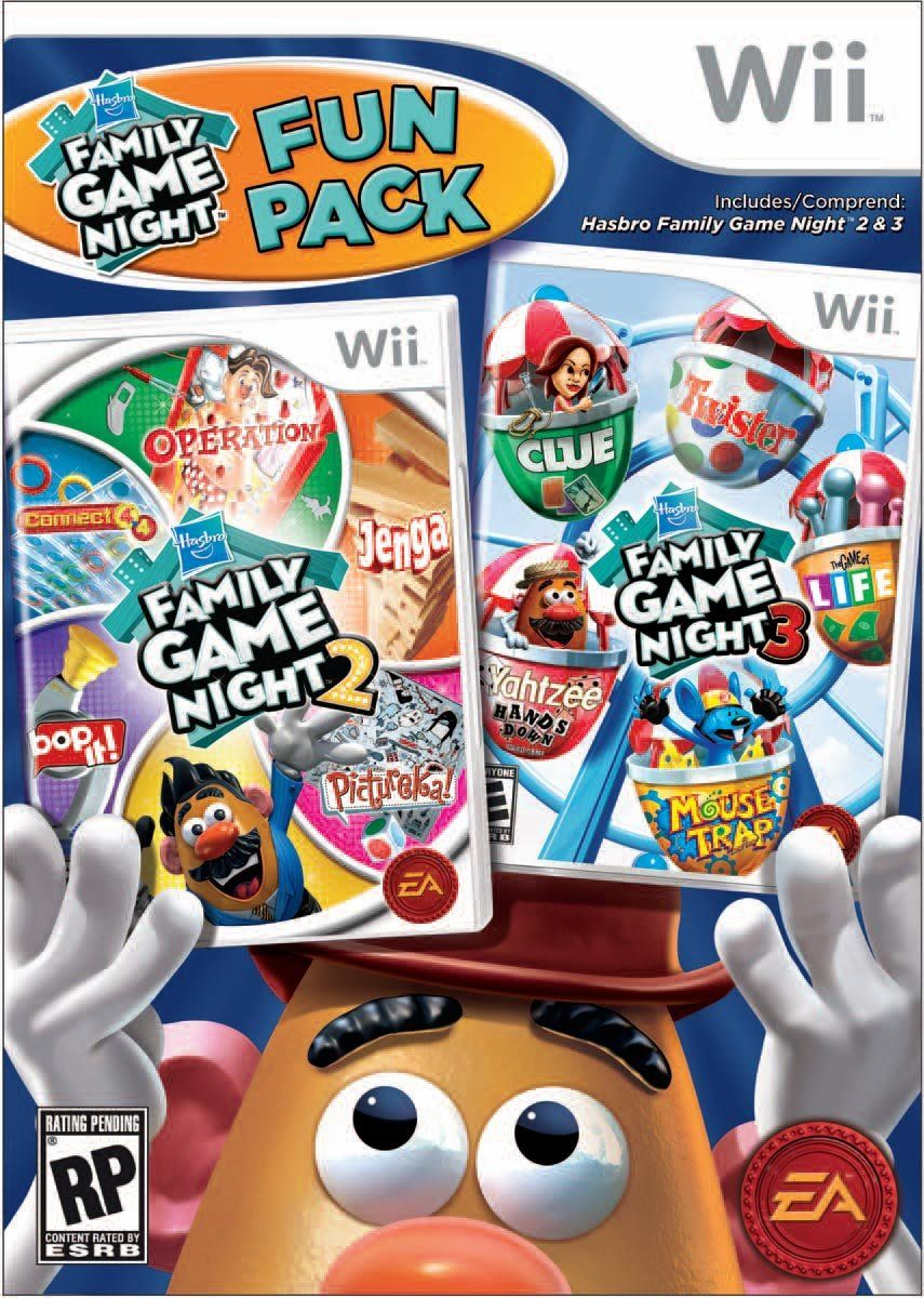 Amazon Com Hasbro Family Game Night Fun Pack Nintendo Wii Video Games Family Game Night Family Games Family Fun Games