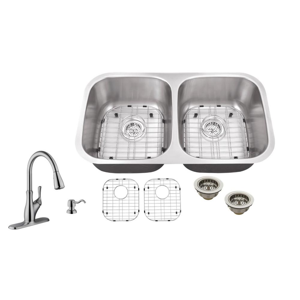 Schon All In One Undermount Stainless Steel 32 In Double Bowl