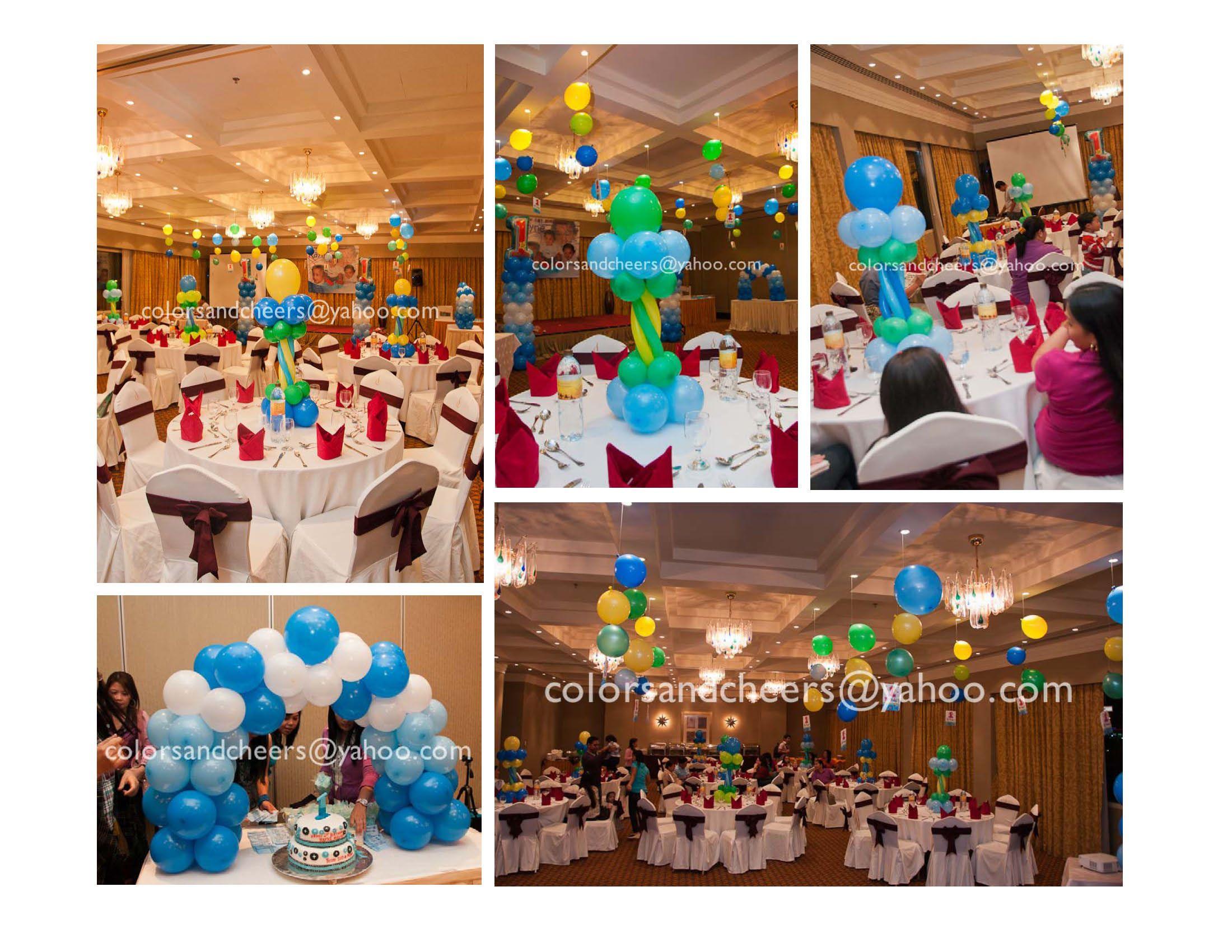 Balloon arrangement idea ideas for 1st birthday mickey for Balloon arrangement ideas