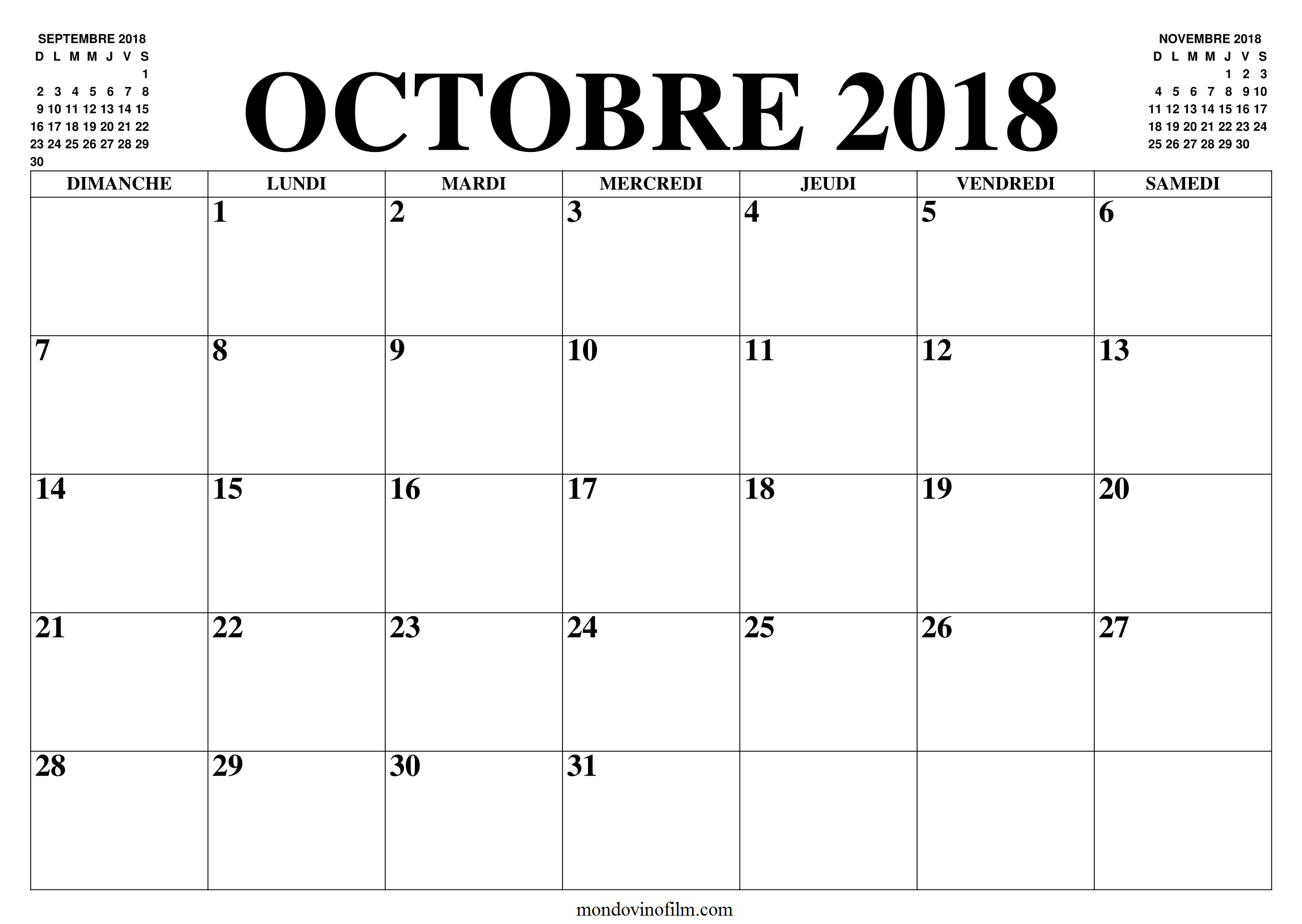 Calendrier Octobre 2018 Pdf Word search puzzle, Words
