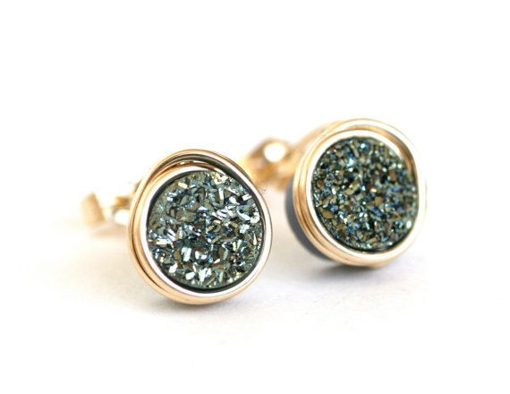 Green Druzy AAA Small Stud Post Earrings Gold by WrennJewelry, $28.00