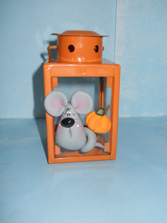 Glass Lantern  Mouse/Pumpkin  Polymer Clay by ClayBabiesInc, $9.95