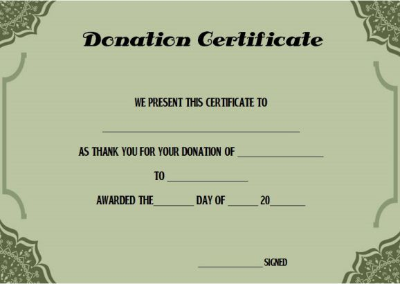 Charitable Donation Certificate Template  Donation Certificate