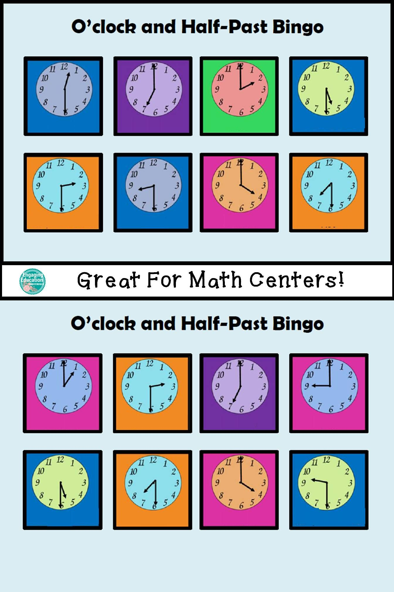 Time Bingo O Clock And Half Past
