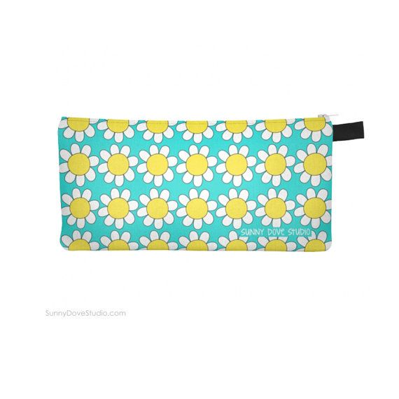 Zipper pouch pencil case holder easter gift for friend her zipper pouch pencil case holder easter gift for friend her girlfriend teen girls cute daisy flower cases bag cosmetic bags handmade gifts negle Gallery