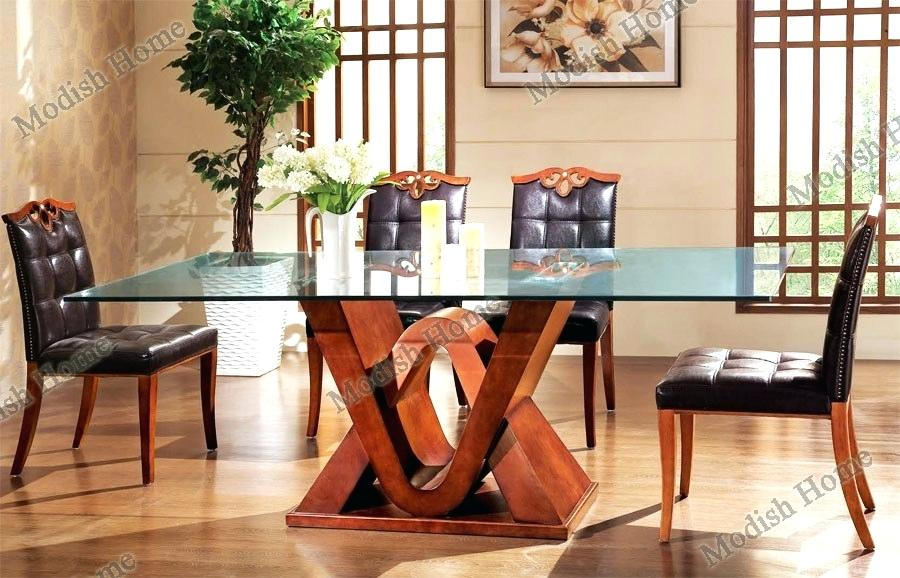 Fashion Design Wood Dining Table With Glass Top Set Wholesale Wooden Dining Table Desi Wooden Dining Table Designs Dining Table Set Designs Dining Table Design