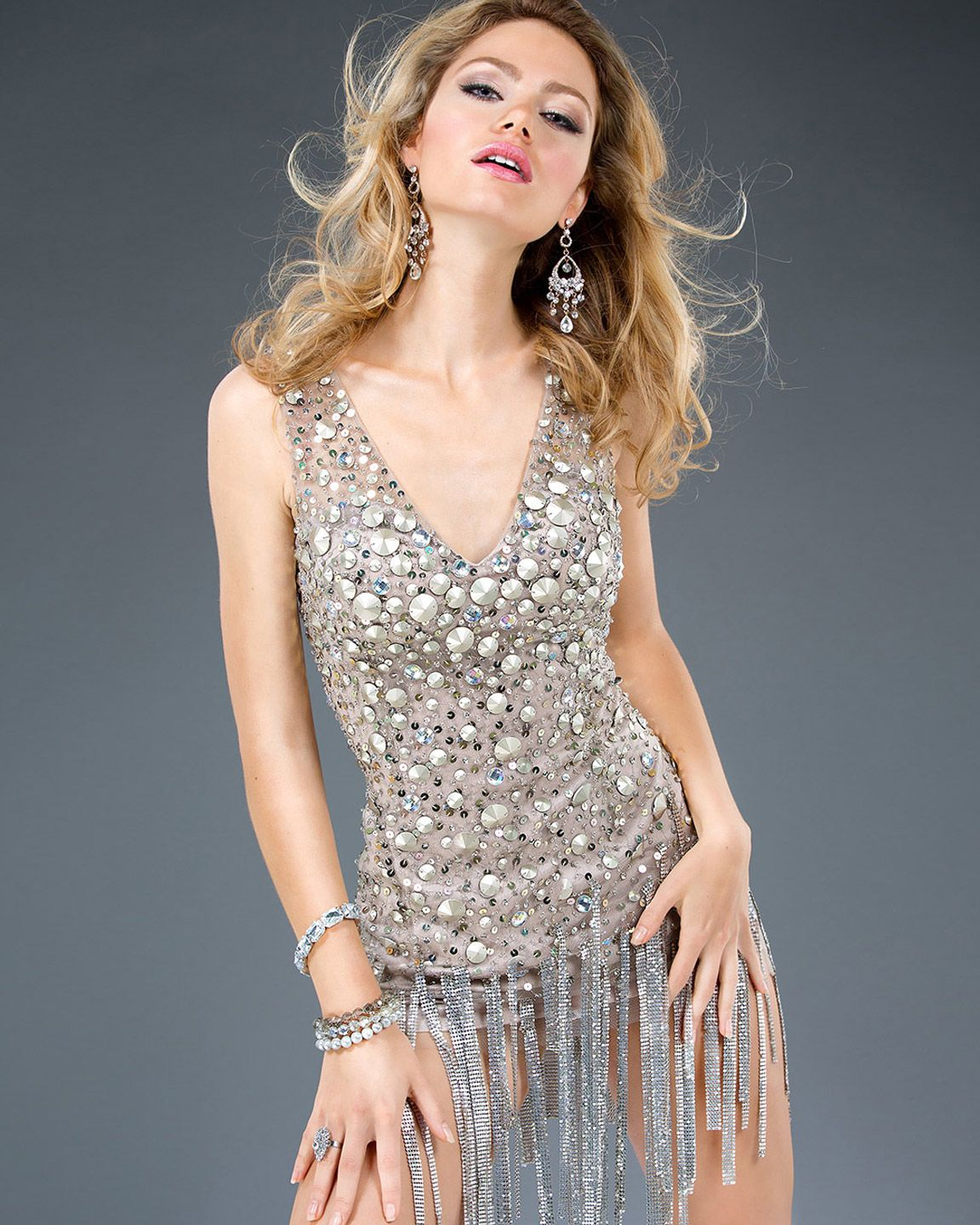 Jovani 78476 Beaded Fringe Cocktail Dress $499 New, Gold, Size 0 ...