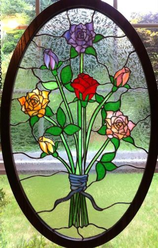 stained glass rose bouquet oval