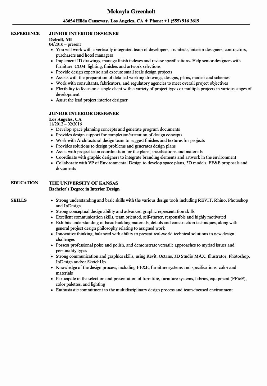 Interior Design Resume Examples Inspirational Junior Interior Designer Resume Samples In 2020 Interior Design Resume Resume Design Interior Design Jobs