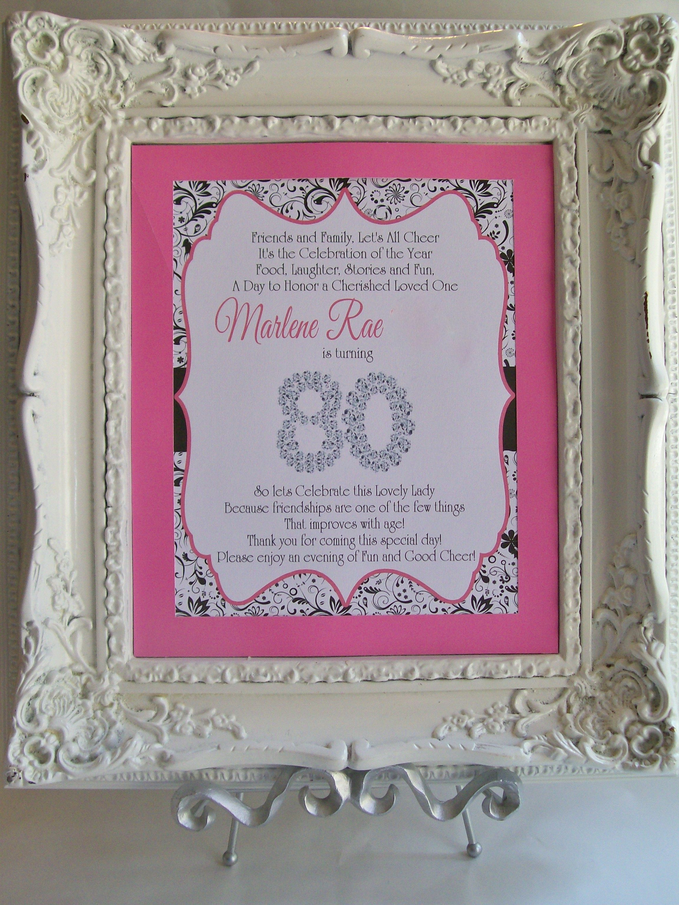 80th birthday borders and frames 80th birthday card - Table Sign Thank You For Coming 80th Birthday Party
