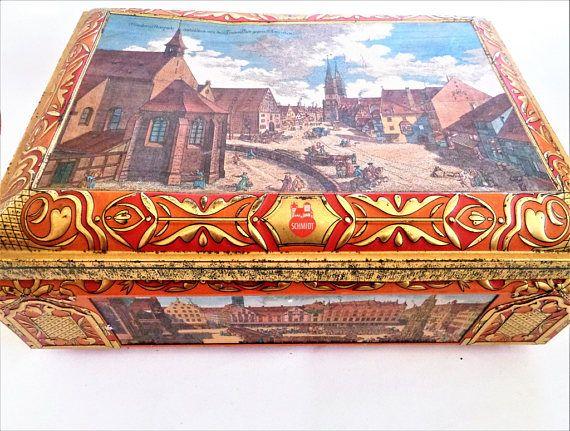 Cool Very Large Tin Box E Otto Schmidt Tin Box NURNBERG