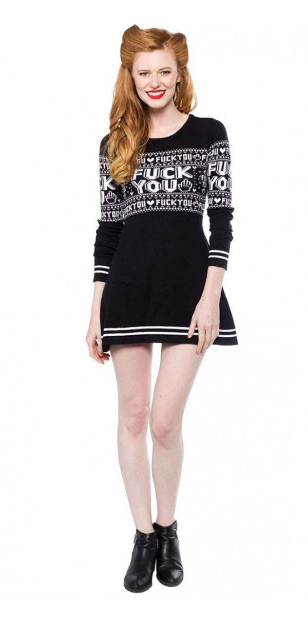 5811db97041 F You Sweater Dress Sourpuss Blame Betty