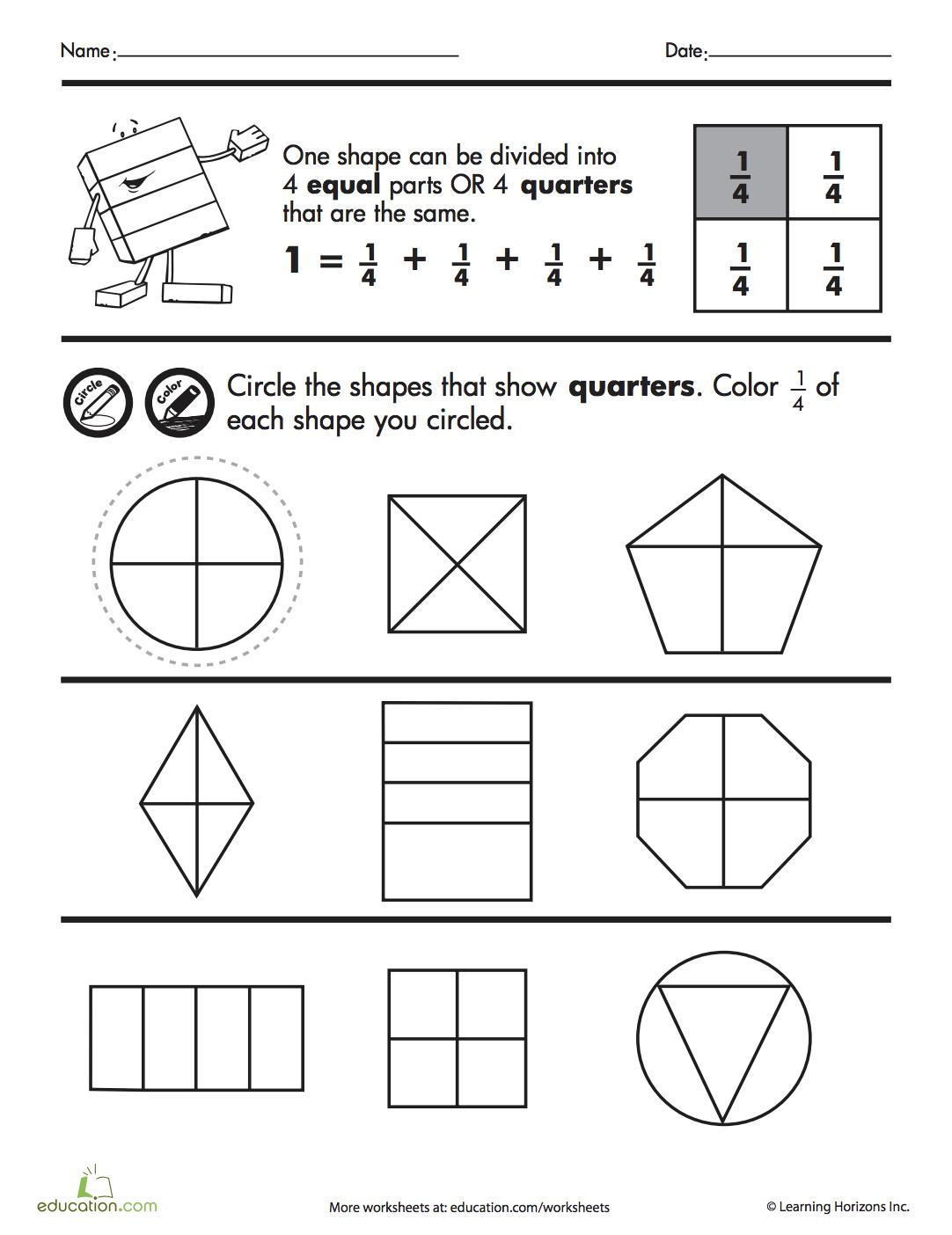 Shape Fractions Quarters