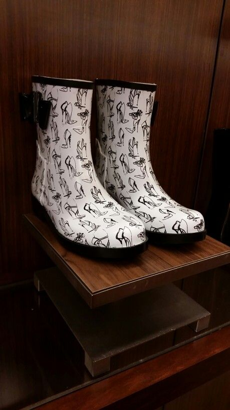 Rainboots have heels on them. Fashion Rainboots. Short rainboots. Belk Store