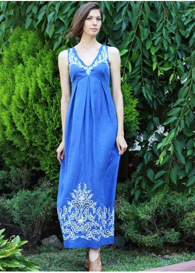 The blue linen dress with embroidery