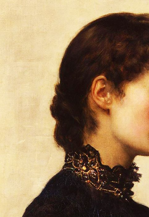 Traveling through history of Art...Marion Collier, detail, by John Collier, 1883.