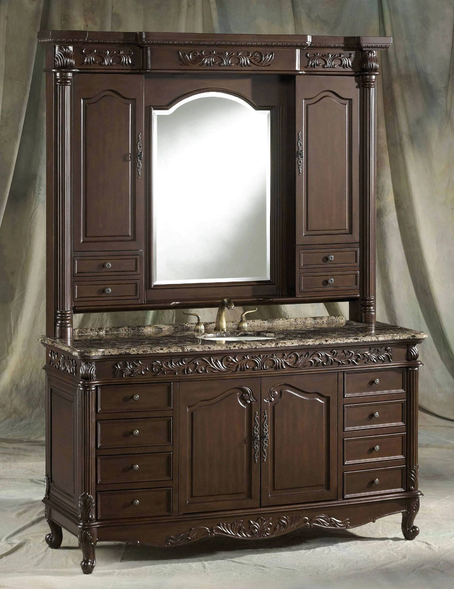 64 Bathroom Vanity Bathroom Vanity Cabinet 2764 Nf 2pcs With Matching Mirrored Hutch