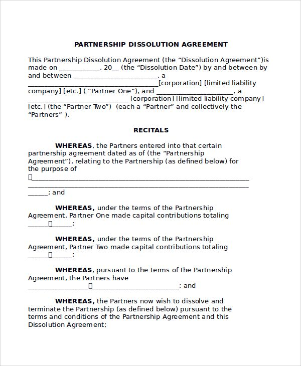 Partnership Termination Form Domestic Sample Dissolution Agreement