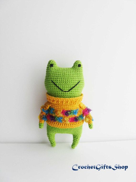 Crochet pattern Amigurumi Frog Toys green toad Digital instant ...