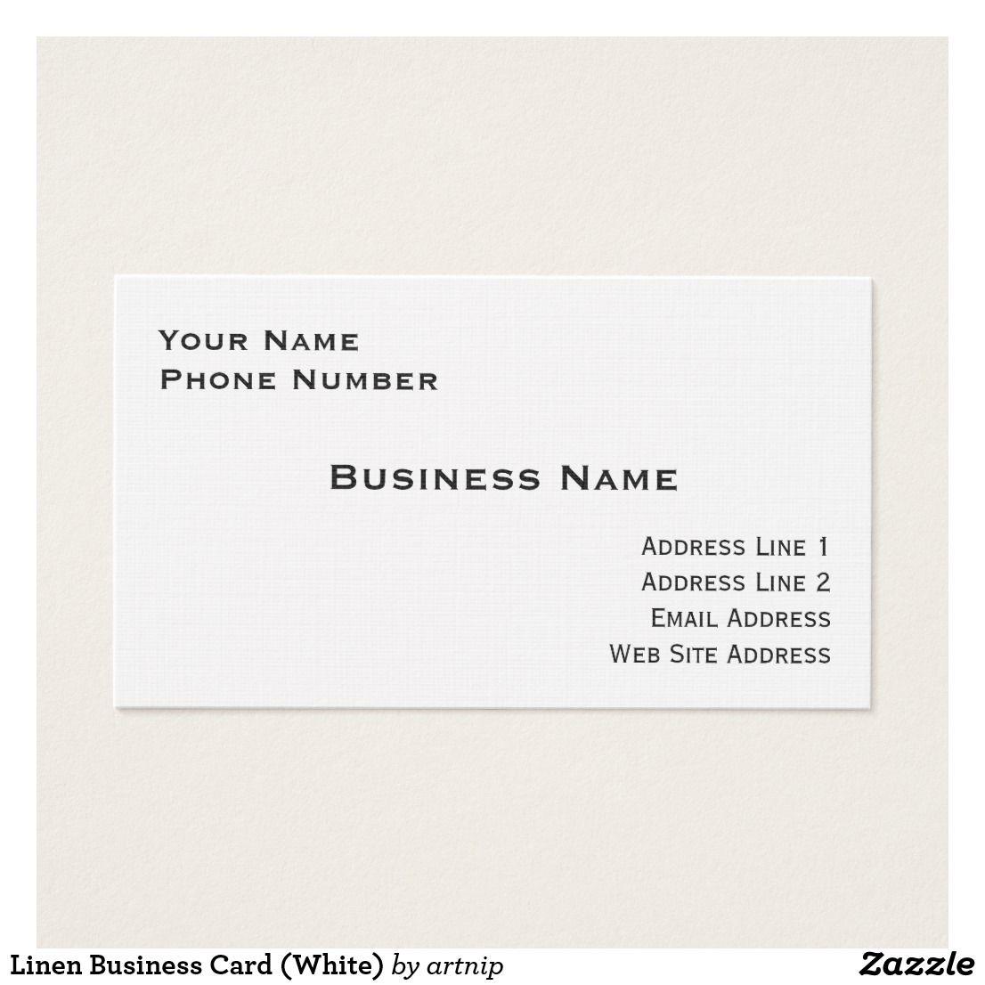 Linen Business Card White Zazzle Com Linen Business Cards Business Names Business Cards