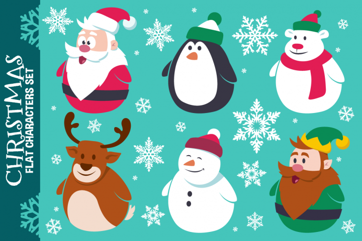 Christmas Cute Flat Characters Set Vector From Designbundles Net Christmas Characters Christmas Card Design Christmas Watercolor