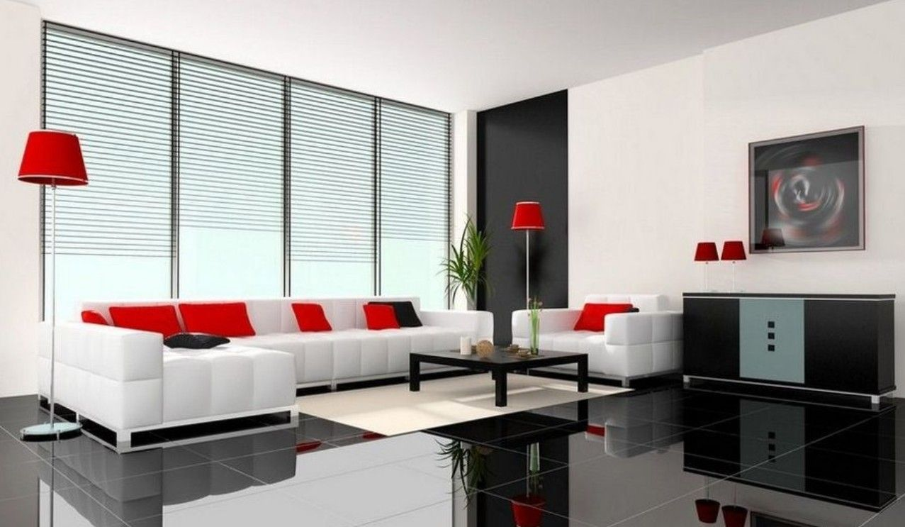 Black White Living Room Design Ideas With Black Tile Floor