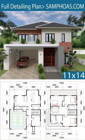 3 Bedrooms Home Design 12x25 Meters Home Ideas Villa Design Model House Plan House Construction Plan