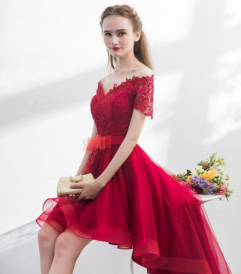 Walk Beside You Burgundy Prom Dresses Short Front Long Back Short Sleeves Lace  Applique Evening Party Gown robe tulle femme 2018 free shipping worldwide a39e9203c900