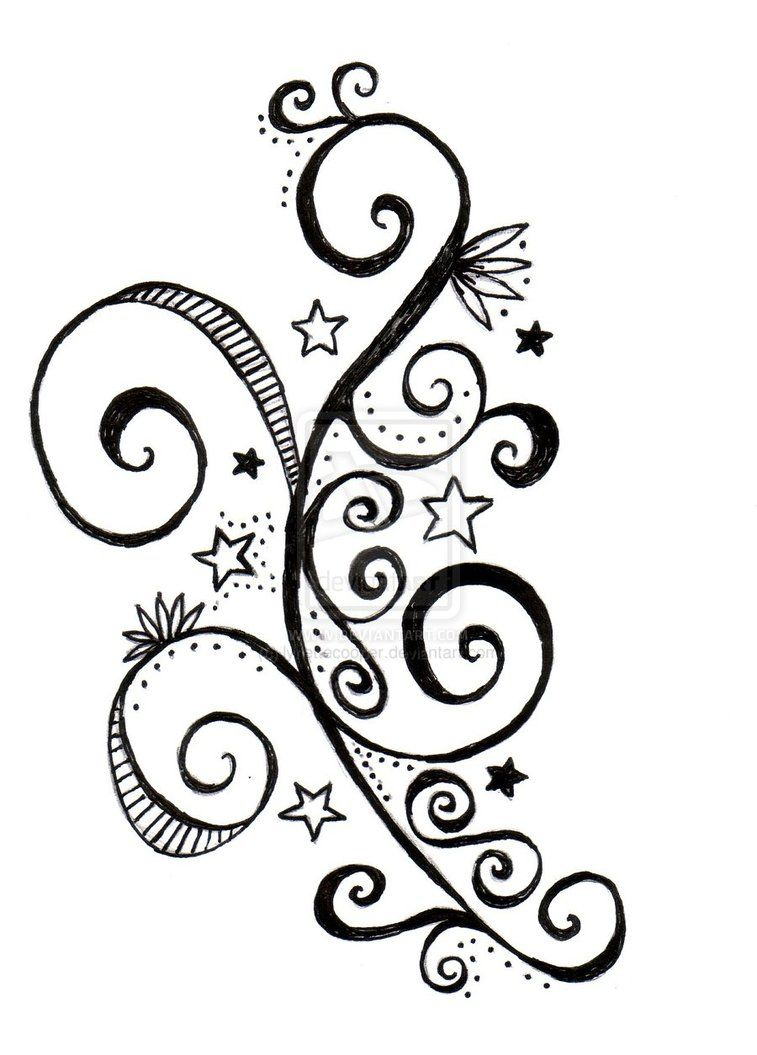 star and swirls tattoo design by lynettecooper on deviantart swirl tattoos pinterest. Black Bedroom Furniture Sets. Home Design Ideas