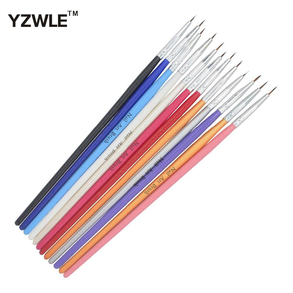 Yzwle 12 Pcspack Colorful Nail Art Brush Tiny Acrylic Nail Art Tips