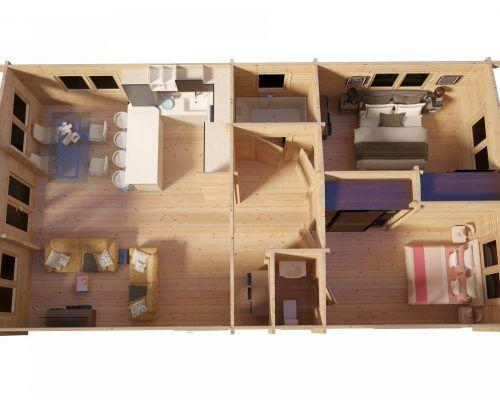 Großes Holzhaus Valencia mit zwei Schlafzimmern 60m2 / 11