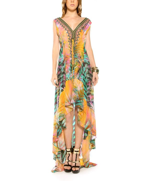 Look at this Parides  Orange Palm Silk-Blend Hi-Low Dress on #zulily today!