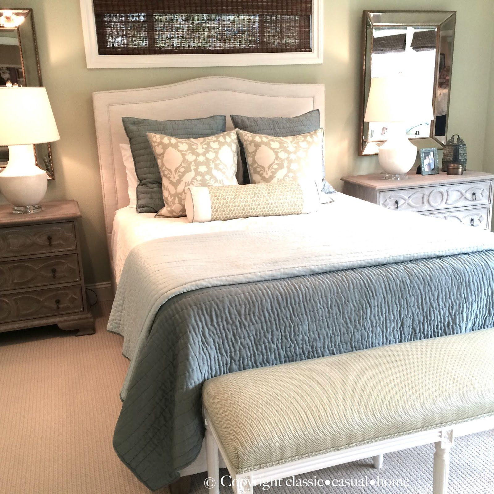 Soft Green and Aqua Blue Master Bedroom Before and After