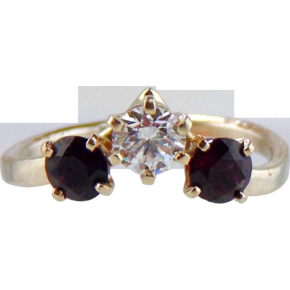 Diamond And Garnet  Ring 14kt White Gold , Size 5 1/4