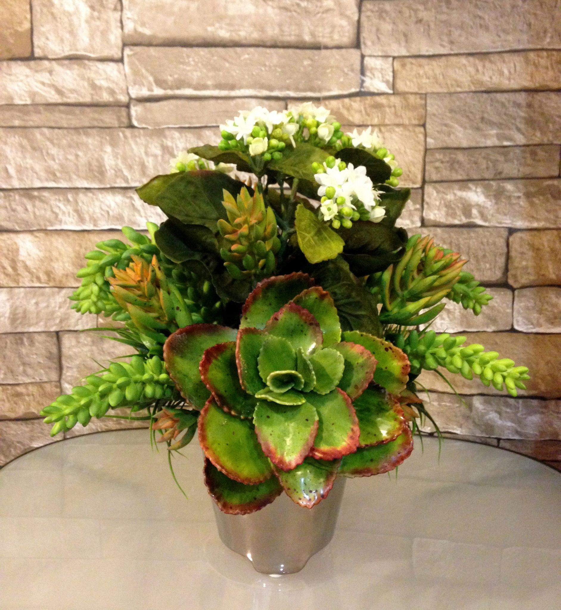 Artificial kalanchoe and succulent plant arrangement in silver