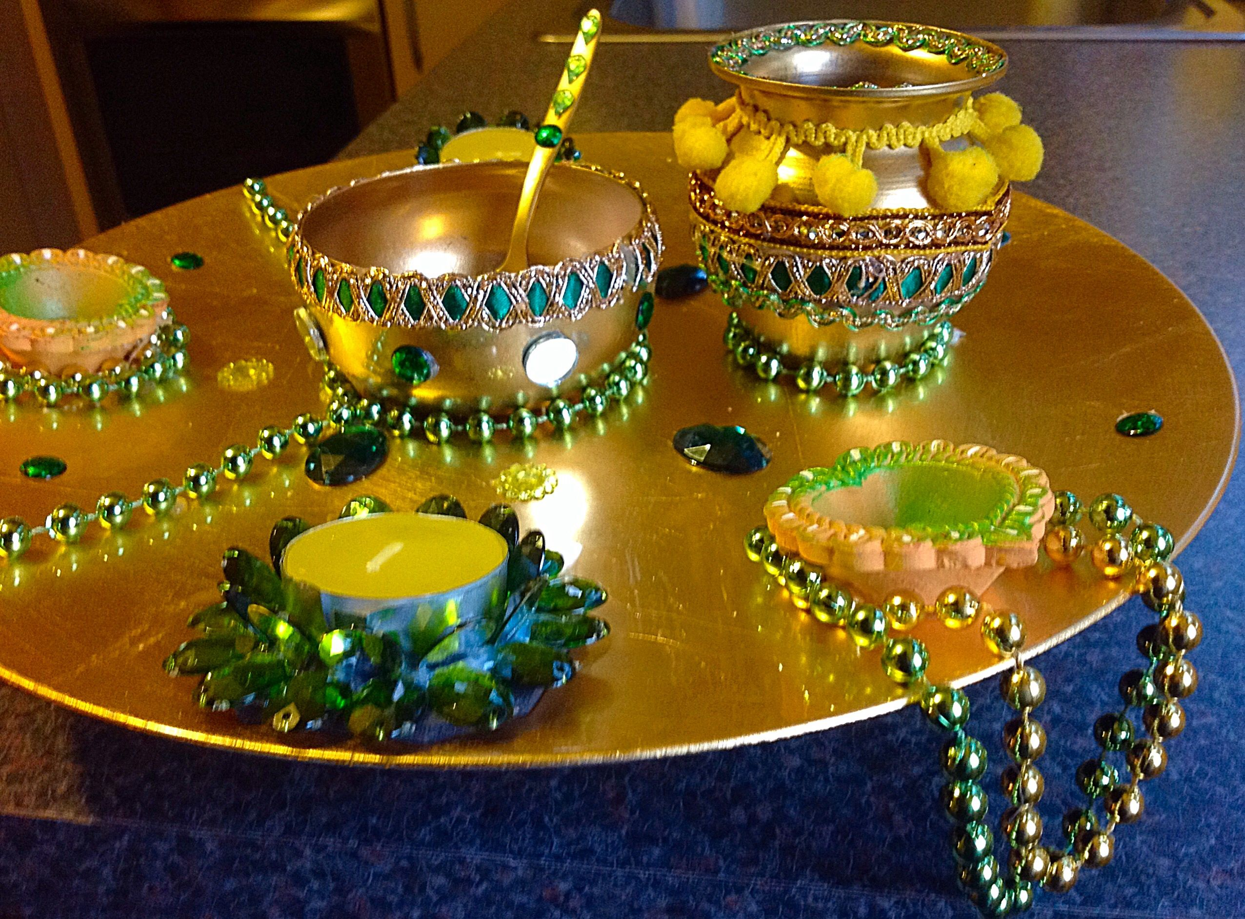 Decoration Of Mehndi Plates : Hand crafted oil and mehndi plate please see my facebook