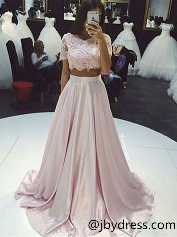 88807a4e6763 Custom Made 2 Pieces Pink Lace Prom Dresses, Pink Lace Formal Dresses