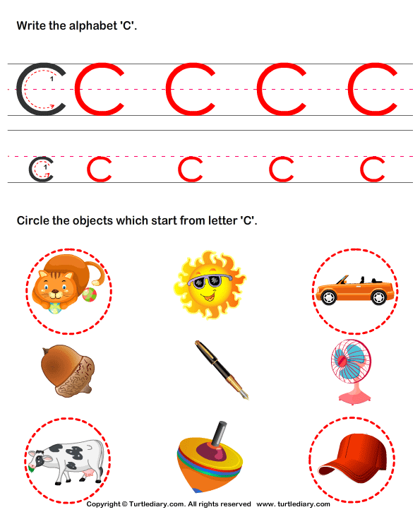 Alphabets Worksheets  Identify Words For Letters A Z   Turtle