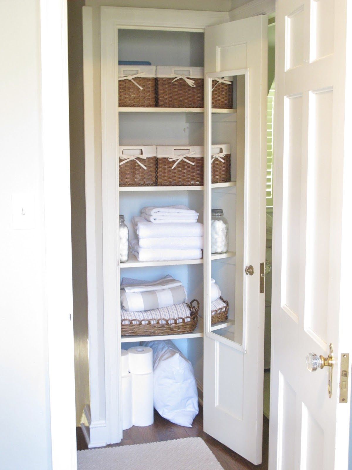 Linen closet inspiration jenny steffens hobick my linen for Storage solutions for small closets