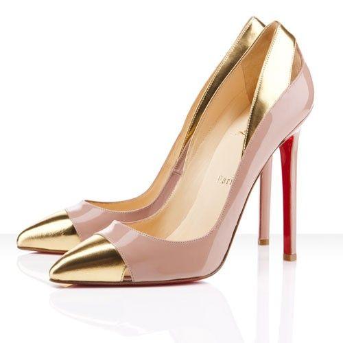 Christian Louboutin Gold Point Toe Stylish Shoes $125