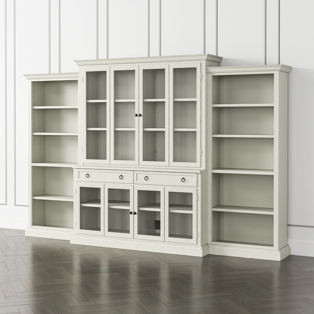 Cameo vamelie 4 piece glass door wall unit with open bookcase