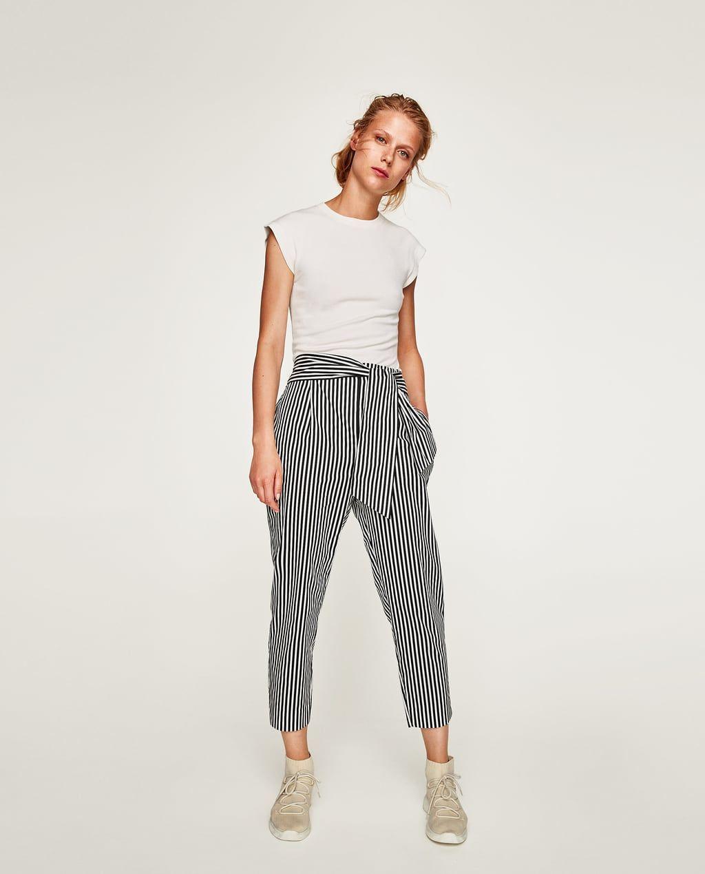 Woman Tie Pantaloni Waist Poplin Zara CxWdeorB
