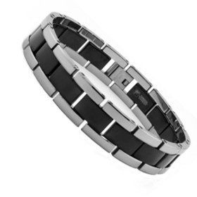 d75f0fb373dbf 12MM Two Tone Black Tungsten Bracelet 8.25